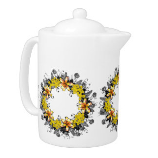 "Wreath ""Yellow Yellow"" Flowers Floral Teapot"