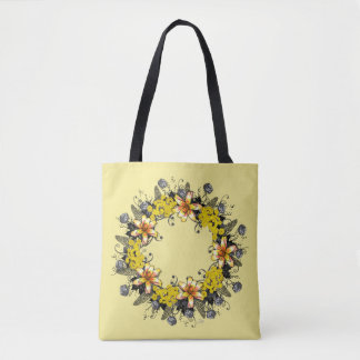 "Wreath ""Yellow Yellow"" Flowers Floral Tote Bag"