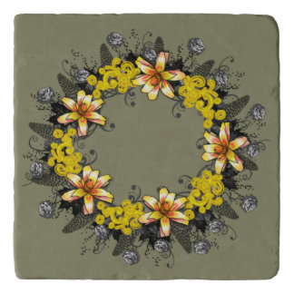 """Wreath """"Yellow Yellow"""" Flowers Floral Trivet"""