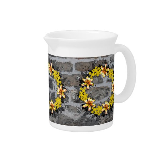 """Wreath """"Yellow Yellow"""" Flowers Porcelain Pitcher"""