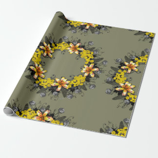"""Wreath """"Yellow Yellow"""" Flowers Wrapping Paper"""