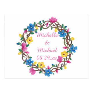Wreathe Colorful Flowers Save the Date Postcards