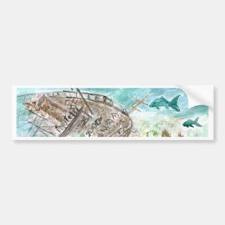 Wreck Boat Art Bumper Sticker