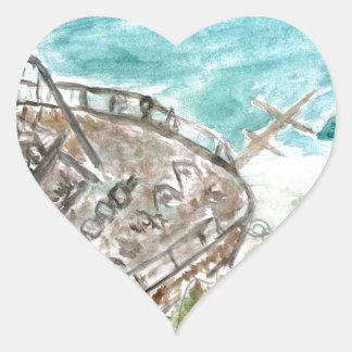 Wreck Boat Art Heart Sticker