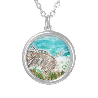 Wreck Boat Art Silver Plated Necklace