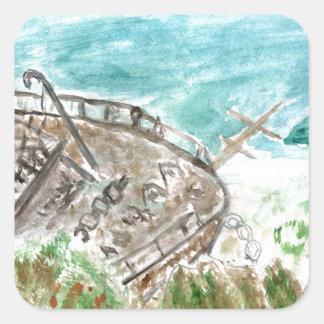 Wreck Boat Art Square Sticker