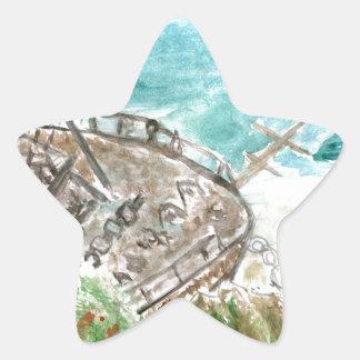 Wreck Boat Art Star Sticker