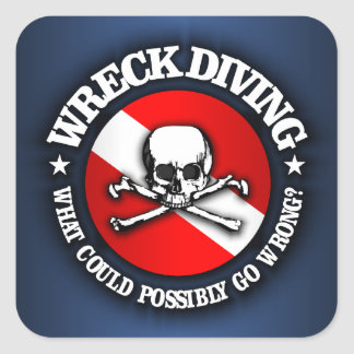 Wreck Diving (Skull) Square Sticker