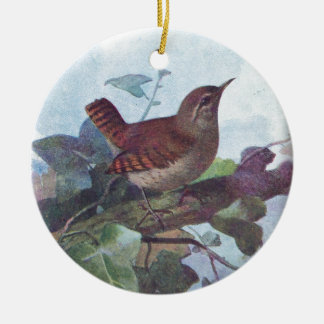 wren ceramic ornament