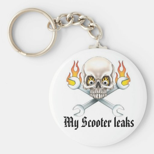 Wrench and Skull, My Scooter leaks Keychain