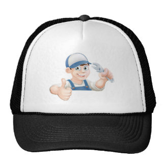 Wrench man over banner thumbs up mesh hats