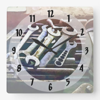 Wrenches in Machine Shop Square Wall Clock