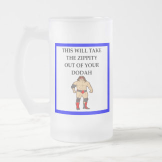 wresting frosted glass beer mug