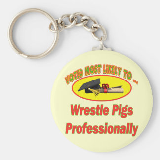 Wrestle Pigs Keychain