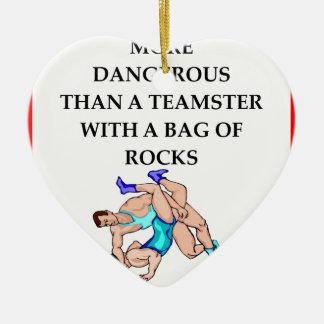 wrestling ceramic heart ornament