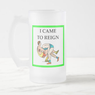 wrestling frosted glass beer mug
