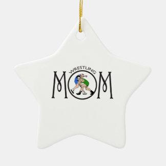 WRESTLING MOM CERAMIC STAR ORNAMENT