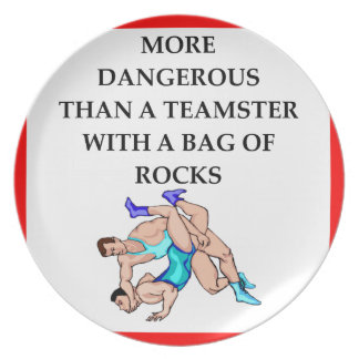 wrestling party plate