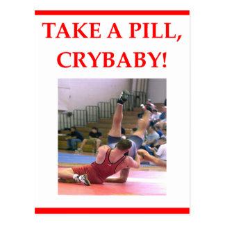wrestling postcard