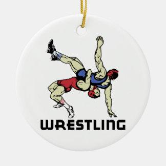 Wrestling Round Ceramic Ornament