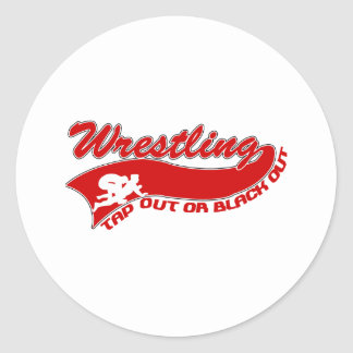 Wrestling; tap out or black out round sticker