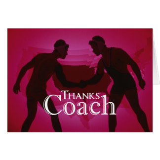 Wrestling Thanks Coach Silhouette Red Card
