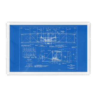 "Wright Bros. ""Flyer"" Blueprint 1903 Acrylic Tray"