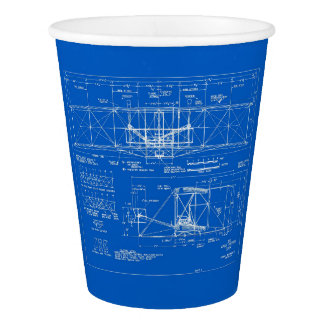 "Wright Bros. ""Flyer"" Blueprint 1903 Paper Cup"