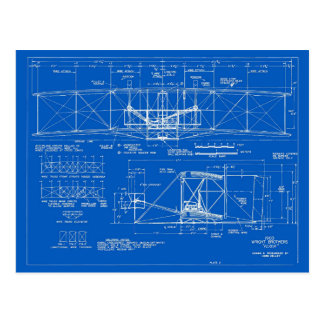 "Wright Bros. ""Flyer"" Blueprint 1903 Postcard"