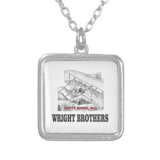 wright brother history silver plated necklace