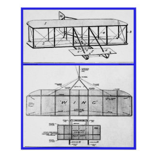Wright Brothers Patent Drawings 1908 Poster