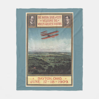 Wright Brothers Plane Fleece Blanket