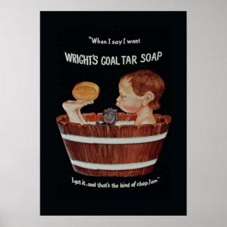 Wrights Coal Tar Soap Poster