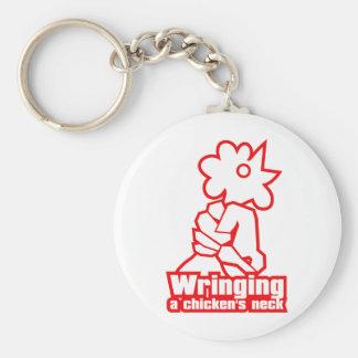 Wringing a chicken's neck basic round button keychain