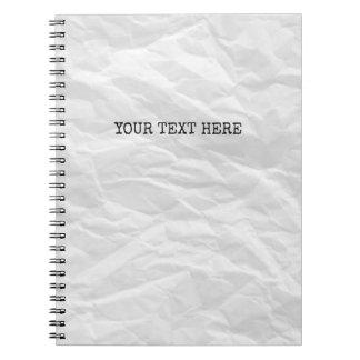 Wrinkled paper and typewriter font custom notebook