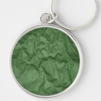 Wrinkled Paper, Crumpled Paper Texture - Green Silver-Colored Round Keychain