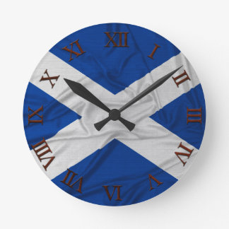 Wrinkled Scotland Flag Round Clock
