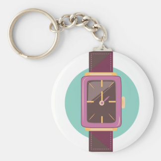 Wrist Watch Basic Round Button Keychain