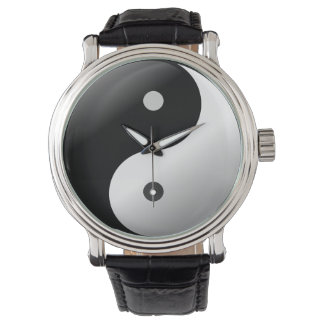 Wrist watch Black Vintage Leather yin yang.