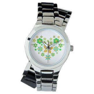 Wrist-watch with blumigem heart watch