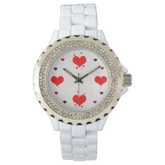 Wrist-watch with hearts watch