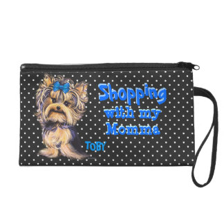 Wristlet Custom Personalized Yorkie Boy Wrist Bag