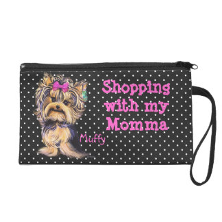 Wristlet Custom Personalized Yorkie Pup Wrist Bag
