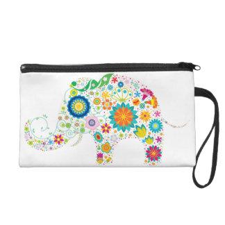 wristlet, elephant, flowers, floral, colorful wristlet