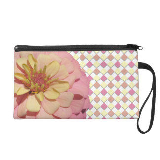 Wristlet - Mini-Purse - Sherbet Zinnia on Diamonds