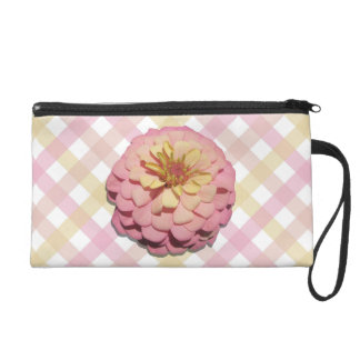 Wristlet - Mini-Purse - Sherbet Zinnia on Lattice