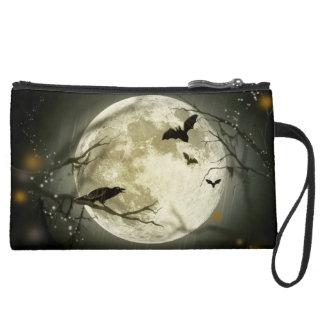 wristlet or makeup bag  Halloween moon bat autumn