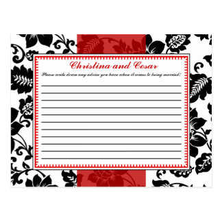 Writable Advice Card Black Flourish Red Stripe Postcard