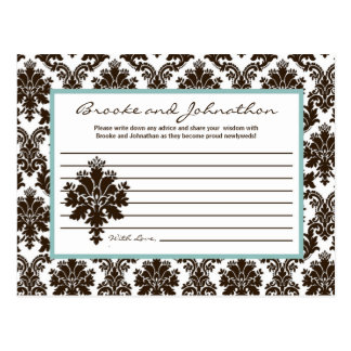 Writable Advice Card Brown Damask Lace