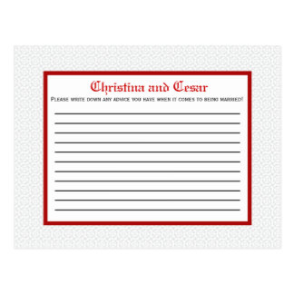Writable Advice Card Gray Red Formal Print